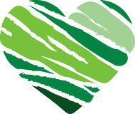 Green Stripe Heart Royalty Free Stock Images