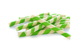 Green stripe wafer rolls Royalty Free Stock Photos