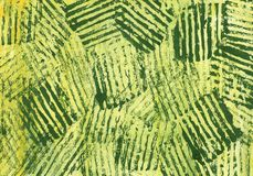 Green striped abstract texture. Green abstract art painting. Green lines on a yellow-green background. Abstract watercolor painting stock illustration