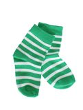 Green striped baby socks Stock Image