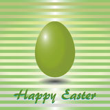 Green striped card with easter eggs Royalty Free Stock Image