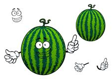 Green striped cartoon watermelon fruit Stock Image