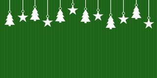 Green striped Christmas banner. Simple green striped christmas banner with white hanging christmas decoration stock illustration