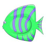 Green striped fish icon, cartoon style. Green striped fish icon. Cartoon illustration of green striped fish vector icon for web Stock Photography