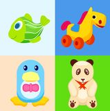 Funny Animal Toys in Colored Squares Illustrations. Green striped fish, yellow horse on wheels, blue penguin in bowtie and cute panda bear with orange ribbon on Royalty Free Stock Images