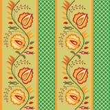 Green striped floral wallpaper Stock Photos
