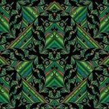Green striped geometric floral pattern. Abstract modern floral seamless pattern. Green striped vector 3d background. Geometric wallpaper. Damask black damask Stock Photo