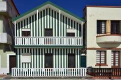 Green striped houses, Costa Nova, Beira Litoral, Portugal, Europ Royalty Free Stock Photo