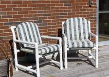 Green Striped Lawn Furniture Stock Photos