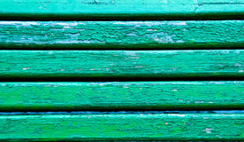 Green striped old wooden bench background. Horisontal Stock Photos
