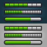 Green Striped Progress Bar Set Royalty Free Stock Photos