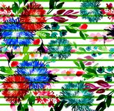 Green striped and seamless pattern Vector floral watercolor flowers. On the white background Vector Illustration