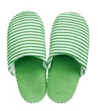 Green striped slippers isolated on white background. Close up, high resolution Stock Photography