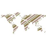 Green striped world map Stock Images