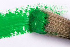 Green stroke of the paint brush Stock Images