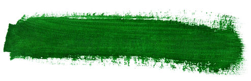 Green stroke of watercolor paint brush Royalty Free Stock Photo