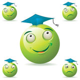 Green student mascot. Round-headed and green student mascot Royalty Free Stock Photos