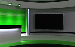 Green Studio. Backdrownd. 3d render Royalty Free Stock Images