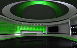 Green Studio. Backdrownd. 3d render Stock Photos