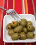 Green stuffed olives Stock Image