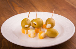 Green stuffed olives with cheese Royalty Free Stock Images