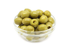 Green stuffed olives in a glass Royalty Free Stock Photos
