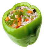 Green stuffed pepper. With vegetables Royalty Free Stock Images