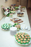 Green style wedding candy bar Stock Image