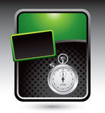 Green stylized advertisement with stop watch Royalty Free Stock Photo