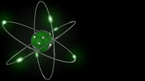 Green stylized atom and electron orbits. 3D rendering Stock Photo