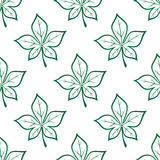 Green stylized chestnut leaves seamless background. Foliage seamless background with green stylized chestnut leaves repeated motif in outline sketch style for Royalty Free Stock Image