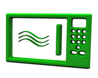 Green stylized microwave oven ,3d Royalty Free Stock Images