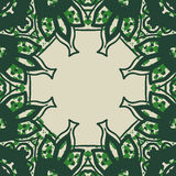 Green stylized ornate frame card in arabic style. Stock Photo
