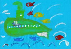 Green submarine and fishes in the deep sea, child`s drawing vector illustration