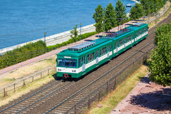 Green suburb train in Budapest Royalty Free Stock Images