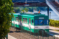 Green suburb train in Budapest Royalty Free Stock Photos