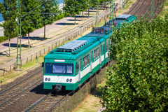 Green suburb train in Budapest Royalty Free Stock Photo