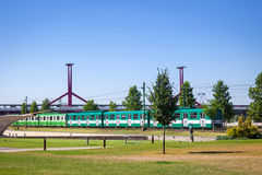 Green suburb train in Budapest Stock Image