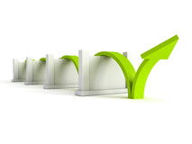 Green success arrow overcome barriers Stock Image