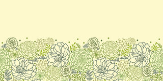 Green Succulent Plants Horizontal Seamless Pattern