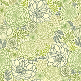 Green succulent plants seamless pattern background vector illustration