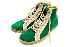 Green suede gumshoes Royalty Free Stock Images