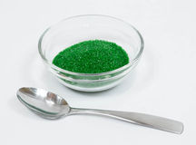 Green Sugar Sprinkles. In a clear glass bowl stock images