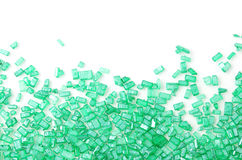 Green sugar sprinkles on white Stock Photo