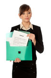 Green Suitcase With Contracts Royalty Free Stock Photography