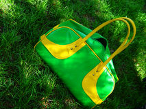 Green summer bag on grass. Summer bag royalty free stock photo