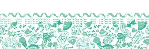 Green summer beach vacation seamless horizontal border. Vector royalty free illustration