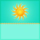 Green Summer Card with Hot Orange Shiny Glowing Sun Royalty Free Stock Photography