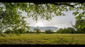 Green summer field. Timelapse footage. Epic sky. Stormic weather. stock footage