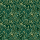 Green summer floral pattern with yellow flowers and leaves Royalty Free Stock Photo
